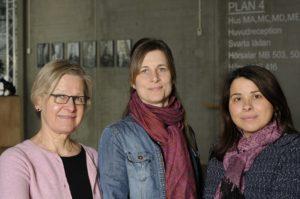 Bild på Cecilia Wadensjö, Hanna Sofia Rehnberg och Zoe Nikolaidou. Foto: Anna Hartvig.